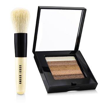 Bobbi Brown Bronze Shimmer Brick Set: Bronze Shimmer Brick Compact + Mini Face Blender Brush (Limited Edition)  2pcs