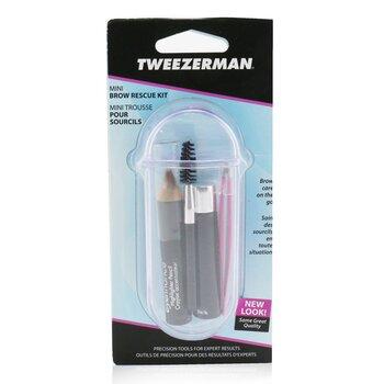 Tweezerman Mini Brow Rescue Kit: Slant Tweezer + Browmousse + Brow Brush + Eyenhance Brow Highlighter + Case  4pcs+1case