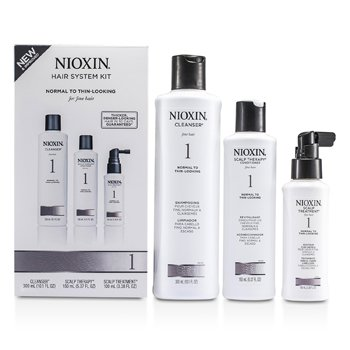Nioxin System 1 Starter Kit For Fine Hair, Normal to Thin-Looking Hair: Cleanser 300ml + Scalp Therapy Conditioner 150ml + Scalp Treatment 100ml  3pcs