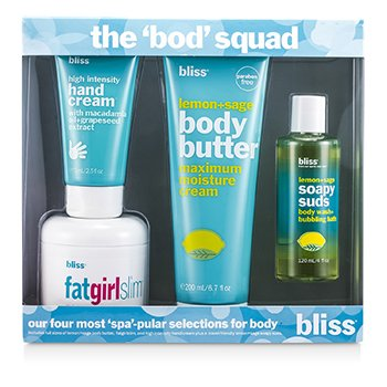 Bliss The Bod Squad Set: Body Butter 200ml + Soapy Suds 120ml + Fat Girl Slim 170.5g + Hand Cream 75ml  4pcs
