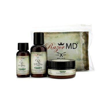 Razor MD RX Shave Trio (Herbal Blend): Post Shave Lotion 60ml + Pre Shave Oil 30ml + Shave Cream 60ml  3pcs