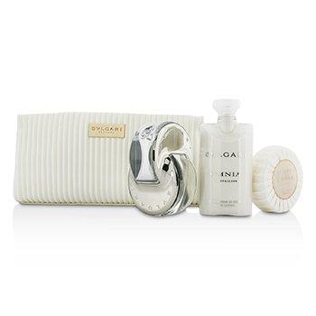 Bvlgari Omnia Crystalline Coffret: Eau De Toilette Spray 65ml/2.2oz + Soap 75g/2.6oz + Body Lotion 75ml/2.5oz + Pouch  3pcs+1pouch