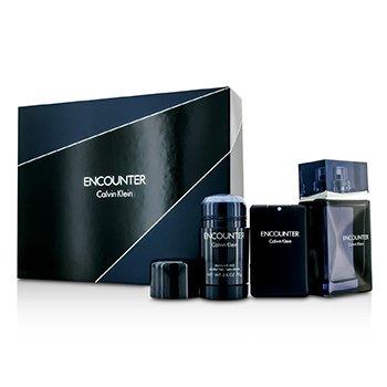 Calvin Klein Encounter Coffret: Eau De Toilette Spray 100ml/3.4oz + Eau De Toilette Spray 20ml/0.67oz + Deodorant Stick 75ml/2.6oz  3pcs