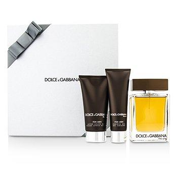 Dolce & Gabbana The One Coffret: Eau De Toilette Spray 100ml/3.3oz + After Shave Balm 75ml/2.5oz + Shower Gel 50ml/1.6oz (Silver Box)  3pcs