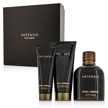 Dolce & Gabbana Intenso Coffret: Eau De Parfum Spray 125ml/4.2oz + After Shave Balm 75ml/2.5oz + Shower Gel 50ml/1.6oz  3pcs