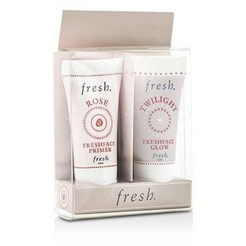 Fresh Prime & Glow Set: 1x Mini Rose Freshface Primer, 1x Mini Twilight Freshface Glow  2x5ml/0.17oz