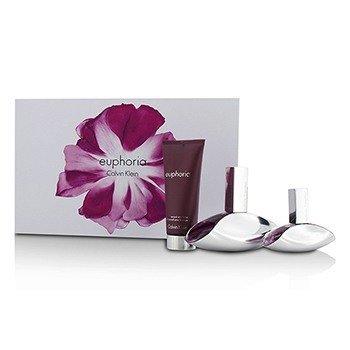 Calvin Klein Euphoria Coffret: Eau De Parfum Spray 100ml/3.4oz + Eau De Parfum Spray 30ml/1oz + Sensual Skin Lotion 100ml/3.4oz  3pcs
