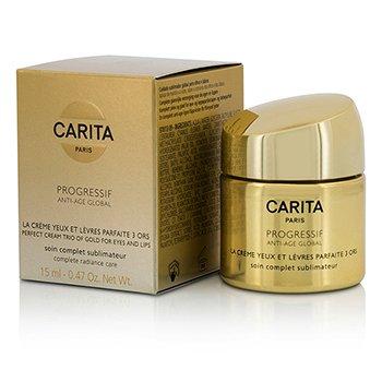 Carita Progressif Anti-Age Global Perfect Cream Trio Of Gold For Eyes & Lips  15ml/0.47oz