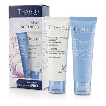 Thalgo Ideal Softness Kit: Bio-Protective Cream 50ml + Immediate Bio-Soothing Mask 50ml  2pcs