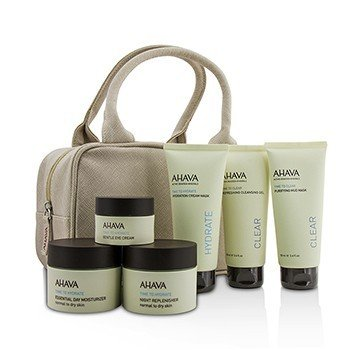 Ahava Hydrating Beauty Case Set: Cleansing Gel 100ml+Mud Mask 100ml+Cream Mask 100ml+Day 50ml+Night 50ml+Eye Cream 15ml+Bag  6pcs+1bag