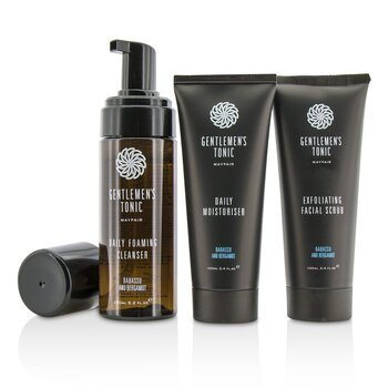 Gentlemen's Tonic Face Gift Set: Exfoliating Facial Scrub 100ml + Daily Foaming Cleanser 150ml + Daily Moisturiser 100ml  3pcs