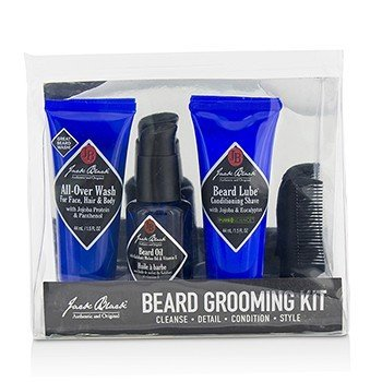 Jack Black Beard Grooming Kit: All-Over Wash 44ml, Beard Oil 30ml, Beard Lube Conditioning Shave 44ml, Beard Comb  4pcs