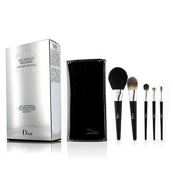 Christian Dior Backstage Brushes Professional Finish Travel Brush Set Edition Voyage (Powder, Fluid Foundation, Eyeshadow, Eyeliner, Lip)  5pcs+1bag