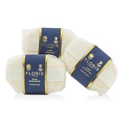 Floris Rose Geranium Luxury Soap  3x100g/3.5oz
