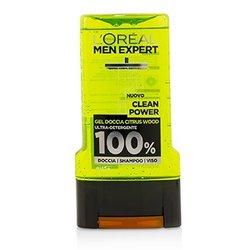 L'Oreal Men Expert Shower Gel - Clean Power (For Body, Face & Hair)  300ml/10.1oz