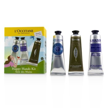 L'Occitane  Kit p/ as mãos Happy mãoss: 2x Manteiga de Karite 30ml + 2x Lavender 30ml + 2x Gel para as mãos Cooling  30ml  6x30ml/1oz