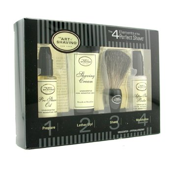 The Art Of Shaving Starter Kit - Unscented: Pre Shave Oil + Shaving Cream + Brush + After Shave Balm  4pcs