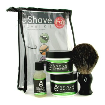 EShave Verbena Lime Travel Kit: Pre Shave Oil + Shave Cream + After Shave Smoother + Brush + TSA Bag  4pcs+1bag