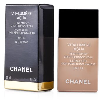 Chanel Base liquida Vitalumiere Aqua Ultra Light Skin Perfecting Make Up SFP 15 - # 22 Beige Rose  30ml/1oz