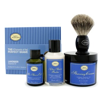 The Art Of Shaving The 4 Elements Of The Perfect Shave - Lavender (New Packaging) (Pre Shave Oil + Shave Crm + A/S Balm + Brush)  4pcs