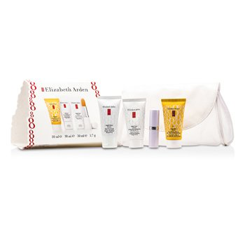 Elizabeth Arden Eight Hour Set: Skin Protectant + Intensive Daily Moist SPF15 + Sun Defense SPF 50 + Lip Protectant  4pcs+1bag
