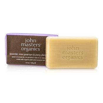 John Masters Organics Jabón de Lavanda, Rosa Geranio y Ylang Ylang  128g/4.5oz