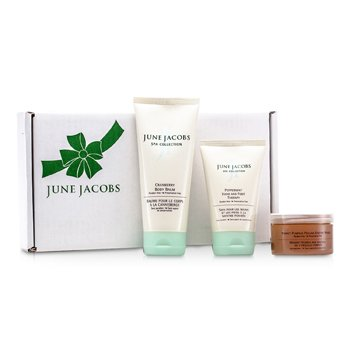 June Jacobs Kit At Home Spa: Máscara Esfoliante + Terapia Mãos & Pé + Bálsamo Corporal  3pcs