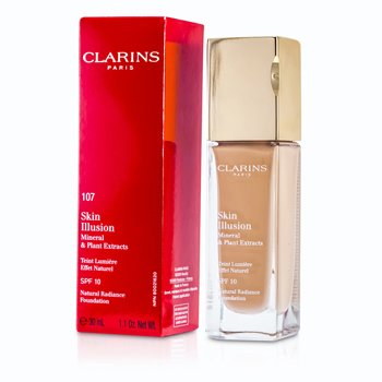Clarins Skin Illusion Base Maquillaje Radiancia Natural SPF 10 - # 107 Beige 402671  30ml/1oz