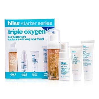 Bliss Set IniciaciónTriple Oxygen : Jabón Desmaquillante 50ml + Mascarilla 10ml + Gel Ojos 5ml + Crema Energizante 15ml  4pcs