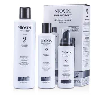 Nioxin System 2 System Kit For Fine & Noticeably Thinning Hair : Cleanser 300ml + Scalp Therapy 150ml + Scalp Treatment 100ml  3pcs