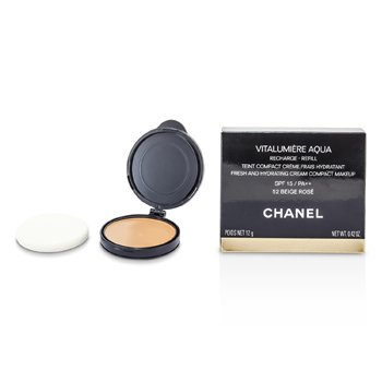 Chanel Vitalumiere Aqua Fresh And Hydrating Cream Compact MakeUp SPF 15 Refill - # 52 Beige Rose  12g/0.42oz