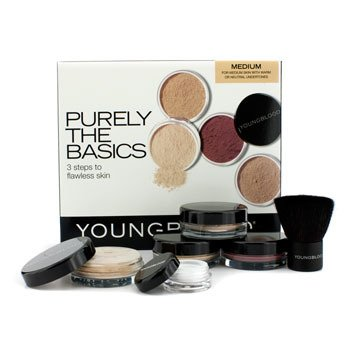 Youngblood Purely The Basics Kit - #Medium (2xFoundation, 1xMineral Blush, 1xSetting Powder, 1xBrush, 1xMineral Powder)  6pcs