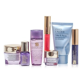 Estee Lauder Travel Set: Makeup Remover 30ml + Optimizer 30ml + Day Cream 15ml + Serum 7ml + Eye Cream 5ml + Mascara #01 + Lip Gloss #30  7pcs