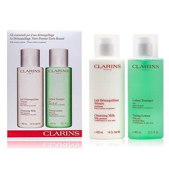 Clarins Caixa de limpeza : Leite de limpeza 400ml + Loção tônica 400ml (Pele Mista e Oleosa)  2pcs