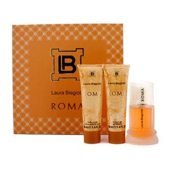 Laura Biagiotti Estuche Roma: Eau De Toilette Spray 50ml/1.6oz + Crema Corporal 50ml/1.6oz + Gel de Ducha 50ml/1.6oz  3pcs