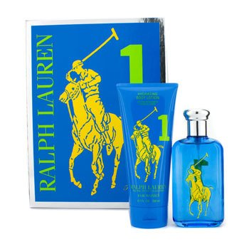 Ralph Lauren Big Pony Collection #1 Blue Coffret: Eau De Toilette Spray 100ml/3.4oz + Hydrating Body Lotion 200ml/6.7oz  2pcs