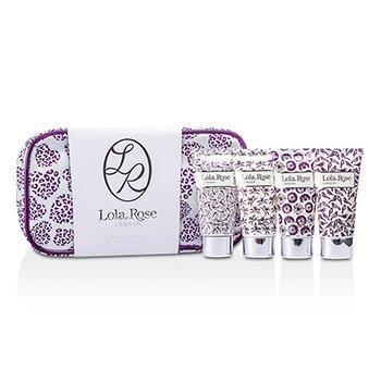 Lola Rose Calming Amethyst Travel Set: Shower Cream + Body Lotion + Hand & Nail Cream + Bubble Bath + Bag  4pcs+1bag