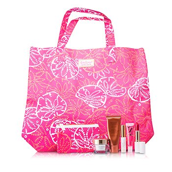 Estee Lauder Travel Set: DayWear Cream SPF15 + Bronze Goddess + Mascara + Lipstick #88 + High Gloss #07 + Pouch + Bag  5pcs+2bags