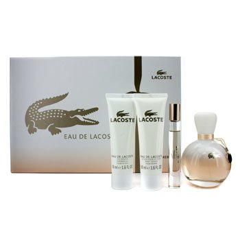 Lacoste Eau De Lacoste Coffret: Edp Spray 90ml/3oz + Edp Roll On 6ml/0.2oz + Loción Corporal 50ml/1.6oz + S  4pcs