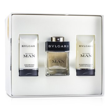 Bvlgari Man Coffret: Eau De Toilette Spray 60ml/2oz + After Shave Balm 75ml/2.5oz + Shampoo & Shower Gel 75ml/2.5oz  3pcs