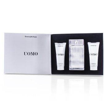 Ermenegildo Zegna Uomo Coffret: Eau De Toilette Spray 100ml/3.4oz + B�lsamo Para Despu�s de Afeitar 100ml/3.4oz + Jab�n de Cabello y Cuerpo 100ml/3.4oz  3pcs