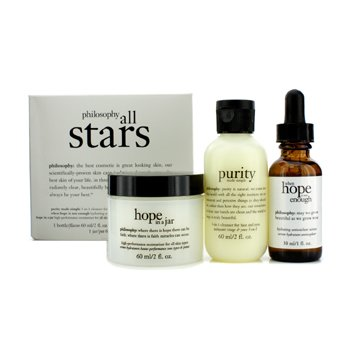 Philosophy All Stars Kit: Purity Made Simple Limpiador 60ml/2oz + When Hope Is Not Enough Suero 30ml/1oz + Hope In A Jar 60ml/2oz  3pcs