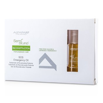 AlfaParf Semi Di Lino Reconstruction SOS Emergency Oil (For Damaged Hair)  6x13ml/0.43oz