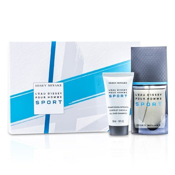 Issey Miyake L'Eau d'Issey Pour Homme Sport Coffret: Edt Spray 50ml/1.6oz + Champ� Para Todo 50ml/1.6oz + Bolso  2pcs+Bag