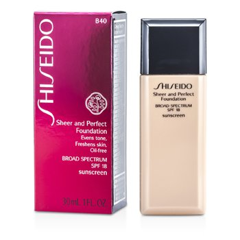 Shiseido Sheer & Perfect Foundation SPF 18 - # B40 Natural Fair Beige  30ml/1oz