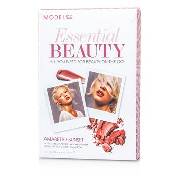 ModelCo Essential Beauty (×1 بودرة أحمر خدود، ×1 ملمع شفاه فائق اللمعان) - Amaretto Sunset  2pcs
