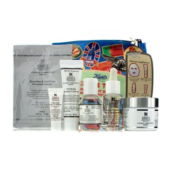 Kiehl's Kit Clearly Corrective White: Creme + Tônico + Limpeza de Pele + Máscara + UV Defense SPF 50 + Necessaire  6pcs+1bag