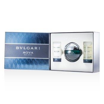 Bvlgari Aqva Pour Homme Coffret: Eau De Toilette Spray 100ml/3.4oz + Champú & Gel de Ducha 75ml/2.5oz + Emulsión Para Después de Afeitar 75ml/2.5oz  3pcs