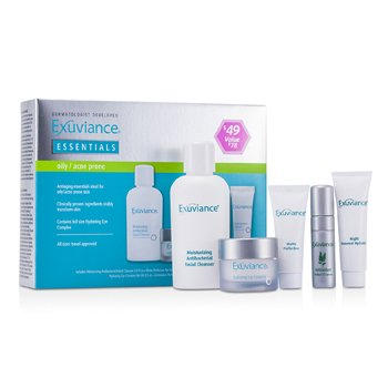 Exuviance Kit Essentials (Pele Oleosa/ Acne): Facial Cleanser + Eye Complex + Matte Perfection + HydraGel + Perfect 10 Serum  5pcs
