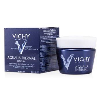 Vichy Aqualia Thermal Night Spa Replenishing Anti-Fatigue Cream-Gel (For Sensitive Skin)  75ml/2.54oz
